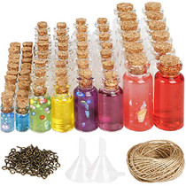 106pcs Mini Glass Jars Bottles with Cork Stoppers Wish Bottles (50pcs 0.5ml and 24pcs 2ml and 20pcs 5ml and 12pcs 10ml), 110pcs Eye Screws,30 Meters Twine and 2pcs Funnel
