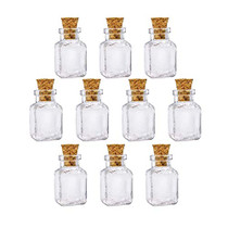 10Pcs Square Shape Mini Glass Bottles Essential Oil Bottle Perfume Bottle Wish Bottles,Necklace Decorative Pendant