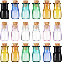 18 Pieces Mini Glass Color Bottles Wishing Bottle 2 ml Tiny Jars Vials Rectangle Bottle with Cork Mini Storage Bottle with Cork Stopper for Party Favor Wedding Birthday DIY Home Decoration, 9 Colors