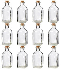 Juvale Clear Glass Bottles with Cork Lids (12 Pack)