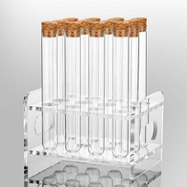 12Pcs 20×150mm(36ml) Glass Test Tubes with Cork Stoppers|1 Rack of Acrylic Material