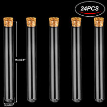 24Pcs 20×150mm(36ml) Glass Test Tubes with Cork Stoppers | 2 Rack of Acrylic Material