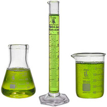 Beaker, Flask, Cylinder Set, 3.3 Boro. Glass - 3 Pieces - 50ml Beaker, 50ml Flask, and 10ml Cylinder, Karter Scientific 215M2