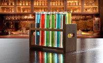 "Lily's Home Bamboo Test Tube Vial Shot Glasses Holder Rack, Great as Pen Stand, Made from Bamboo with Built-in Handle, Rack Only, Glass Tubes NOT Included, 12 Tube Capacity (7/8"" (22mm') Holes)"