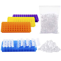 250Pcs 2ml Polypropylene Graduated Microcentrifuge Tubes with Snap Cap,Natural | 4 Assorted PCR Tube Racks, 60-Well