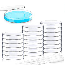 20 Pack Sterile Plastic Petri Dishes with Lid, 90mm Dia x 15mm Deep with 20 Plastic Transfer Pipettes (10Pcs3ml,10Pcs2ml) (90MM)