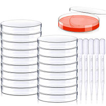 20 Pack Sterile Plastic Petri Dishes with Lid, 100mm Dia x 15mm Deep with 20 Plastic Transfer Pipettes (10Pcs3ml,10Pcs2ml) (100MM)