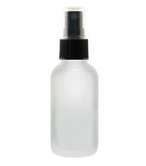 1 Oz FROSTED Glass Bottle w/ Black Fine Mist Sprayer