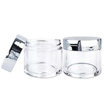 30 Pieces 30G/30ML(1 Oz) Round Clear Jars with Metallic SILVER Flat Top Lids for Herbs, Spices, Loose Leaf Teas, Coffee & Other Foods- BPA Free