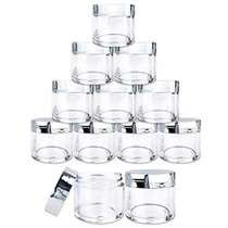 12 Pieces 30G/30ML(1 Oz) Round Clear Jars with Metallic SILVER Flat Top Lids for Herbs, Spices, Loose Leaf Teas, Coffee & Other Foods- BPA Free