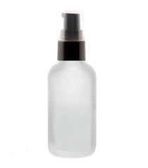 1 Oz FROSTED Glass Bottle w/ Black Treatment Pump