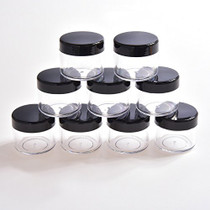 20 Pieces Round Pot Jars Plastic Cosmetic Containers Set with Lid for Liquid Creams Sample, 20 ml/ 0.7 oz (Black Lid)