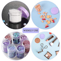 20 Pieces Round Pot Jars Plastic Cosmetic Containers Set with Lid for Liquid Creams Sample, 20 ml/ 0.7 oz (Purple Lid)