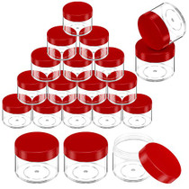 20 Pieces Round Pot Jars Plastic Cosmetic Containers Set with Lid for Liquid Creams Sample, 20 ml/ 0.7 oz (Red Lid)