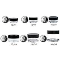 50 New empty 5 Gram (0.17 oz) Acrylic Round Jars - BPA Free Plastic Containers for Cosmetic, Lotion, Cream, Makeup, Bead, Eye shadow, Rhinestone, Samples, Pot, 5g/5ml (Black Lid 50 Jars)
