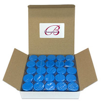 50 New Empty 5 Grams Acrylic Clear Round Jars - BPA Free Containers for Cosmetic, Lotion, Cream, Makeup, Bead, Eye shadow, Rhinestone, Samples, Pot, Small Accessories 5g/5ml (BLUE LID)