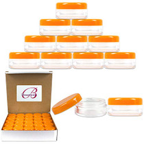 50 New Empty 5 Grams Acrylic Clear Round Jars - BPA Free Containers for Cosmetic, Lotion, Cream, Makeup, Bead, Eye shadow, Rhinestone, Samples, Pot, Small Accessories 5g/5ml (ORANGE LID)