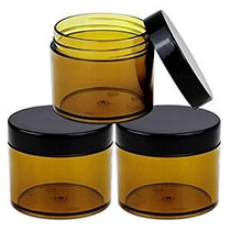 60 Grams/60 ML (2 Oz) Round AMBER Clear Leak Proof Plastic Container Jars with Black Lids for Storage Cosmetic Lotion Scrubs Creams Ointments (3 Pieces Jars + Lids, AMBER)