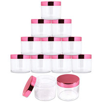 2 oz./ 60 Grams/ 60 ML Thick Wall Round Clear Plastic LEAK-PROOF Jars Container with ROSE GOLD Lids for Cosmetic, Lip Balm, Creams, Lotions, Liquids (12 Jars, Rose Gold)