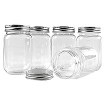 16 Ounce Clear Plastic Jars Containers With Screw On Lids - Refillable Round Empty Plastic Slime Storage Containers for Kitchen & Household Storage - BPA Free (10 Pack)