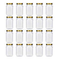 16 Ounce Clear Plastic Jars with Gold Lids - Refillable Round Clear Containers Clear Jars Storage Containers for Kitchen & Household Storage - BPA Free (20 Pack)