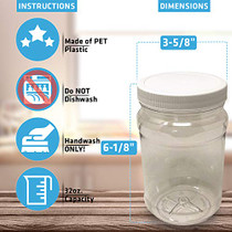 32 Oz Clear Plastic Mason Jars With Ribbed Liner Screw On Lids, Wide Mouth, ECO, BPA Free, PET Plastic, Made In USA, Bulk Storage Containers, 4 Pack (32 Ounces)