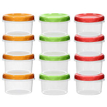 12-pack 8oz/250ml reuseable small plastic freezer storage container jars with screw lid for food kids baby lunch snacks slime cup |Sturdy Plastic|BPA Free | Freezer & Dishwasher Safe|