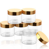 SATINIOR 6 Pack Plastic Pot Jars Round Clear Leak Proof Plastic Container Jars with Lid for Travel Storage, Eye Shadow, Nails, Paint, Jewelry (2 oz, Gold)