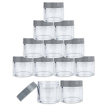 12 Piece 1 oz. USA Acrylic Round Clear Jars with Flat Top Lids for Creams, Lotions, Make Up, Cosmetics, Samples, Herbs, Ointments (12 Pieces Jars + Lids, GRAY)