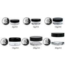 12 Piece 1 oz. USA Acrylic Round Clear Jars with Flat Top Lids for Creams, Lotions, Make Up, Cosmetics, Samples, Herbs, Ointments (12 Pieces Jars + Lids, GREEN)