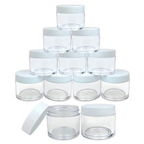 12 Piece 1 oz. USA Acrylic Round Clear Jars with Flat Top Lids for Creams, Lotions, Make Up, Cosmetics, Samples, Herbs, Ointments (12 Pieces Jars + Lids, WHITE)