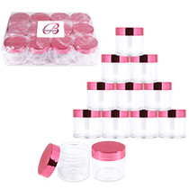 6 Pieces 1 oz. USA Acrylic Round Clear Jars with Flat Top Lids for Creams, Lotion, Make Up, Cosmetics, Samples, Herbs, Ointment (12 Pieces Jars + Lids, ROSE GOLD)