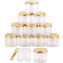 12-Pack 280ml Clear Plastic Slime Jars with Lids, Refillable Empty Round Containers for Cosmetics, Lotions, Gold