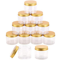 12-Pack 180ml Clear Plastic Jars with Lids, Refillable Empty Round Containers for Beauty Product, Cream, Lotion, Slime, Gold