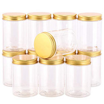 12-Pack 300ml Empty Large Refillable Clear Plastic Jars with Lids for Beauty Products, Round Containers for Slime, Cream, Multi Use, Gold