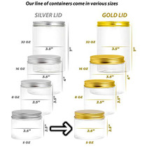Plastic Jars With Lids, Jar With Lids, Plastic Mason Jar, Storage Containers For Cosmetics, Slime Storage Jars, Desert Containers, Airtight Plastic Jar With Lid, 6 Pack (5 oz, Gold)