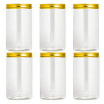 Plastic Jars With Lids, Clear Jar With Lids, Plastic Mason Jar, Storage Containers For Cosmetics, Slime Storage Jars, Desert Containers, Nice Plastic Jar Silver Or Gold Lid Options (32 oz, Gold)