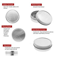 Mimi Pack 24 Pack Tins 2 oz Shallow Round Tins with Solid Screw Lids Empty Tin Containers Cosmetics Tins Party Favors Tins and Food Storage Containers (Silver)