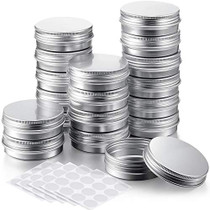 Patelai 36 Pieces 2 Oz Round Tin Containers Metal Tin Cans Aluminum Tin Storage Cans and 5 Sheets Stickers for Salve Spice Candies Candles Kitchen Office Storage, Silver Color