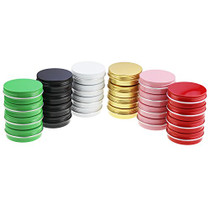 LJY 24 Pieces Multi-Colored Round Aluminum Cans Screw Lid Metal Tins Jars Empty Slip Slide Containers (2 oz)