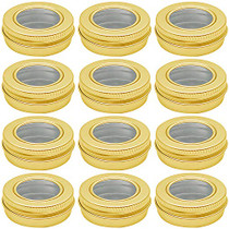 0.5 oz Aluminum Tin Jar 15 ml Refillable Containers Clear Top Screw Lid Round Tin Container Bottle for Candle, Lip Balm, Salve, Eye Shadow, Powder, 12 Pcs Gold Color.