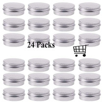 30 ml(1 oz) Silver Aluminum Round Lip Balm Tin Storage Jar Containers with Screw Cap for Lip Balm, Cosmetic, Candles( Pack of 24 )