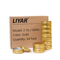 LIYAR 2oz 60ml Metal Storage Tins Aluminum Tins Jars Round Tin Containers Empty Salve Jars Screw Top Tin Cans for Store Spices,Candies,Tea or Gift Giving,Gold(Pack of 14)