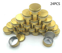 JM-capricorns 24 Pcs 1 Oz Tins Gold Small Aluminum Round Lip Balm Tin Storage Jar Containers with Screw Cap for Lip Balm, Cosmetic, Candles or Tea(Gold)