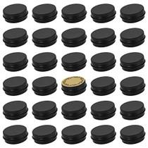 31pcs 0.5oz/15ml Black Aluminum Tin Jar with Screw Lid and Blank Labels