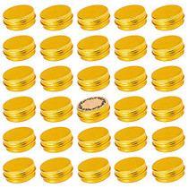 Screw Top Gold Aluminum Tin Jar with Screw Lid and Blank Labels - 31pcs, 0.5oz