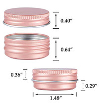 Screw Top Rose Gold Aluminum Tin Jar with Screw Lid and Blank Labels - 31pcs, 0.5oz