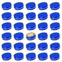 Screw Top Blue Aluminum Tin Jar with Screw Lid and Blank Labels - 31pcs, 0.5oz