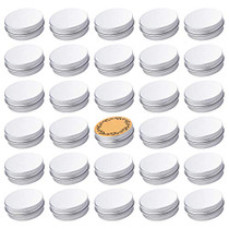 Screw Top Silver Aluminum Tin Jar with Screw Lid and Blank Labels - 31pcs, 1oz