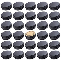Screw Top Black Aluminum Tin Jar with Screw Lid and Blank Labels - 31pcs, 1oz